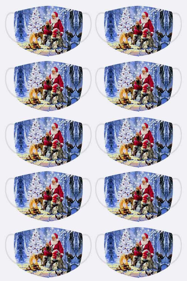 Santa Clause With Forest Animals Print Xmas Face Mask Cover