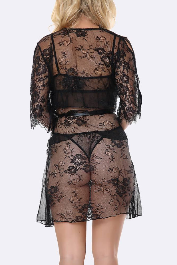 3 Piece Eyelash Gown & Frill Lace Bralet Lingerie Set
