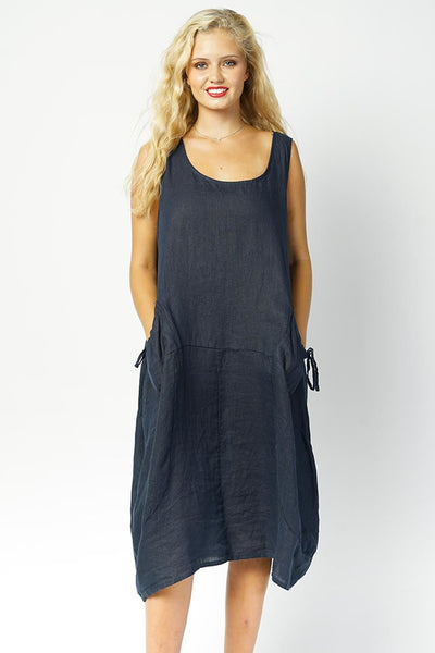 Pearl Linen Stripe Pocket Bubble Hem Dress