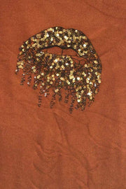 Italian Sequin Lips Pattern Top
