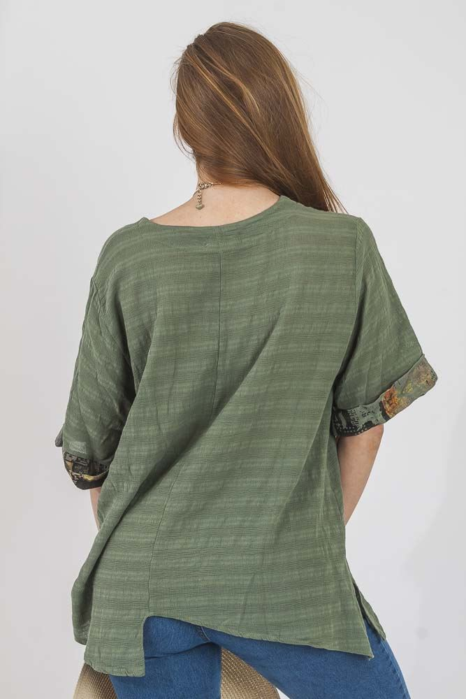 Christa Linen Abstract Paneled Hanky Top - Love My Fashions - Womens Fashions UK