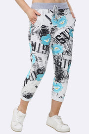 Alessia Italian Writing Flower Print Foldover Hem Drawstring Trouser - Love My Fashions - Womens Fashions UK