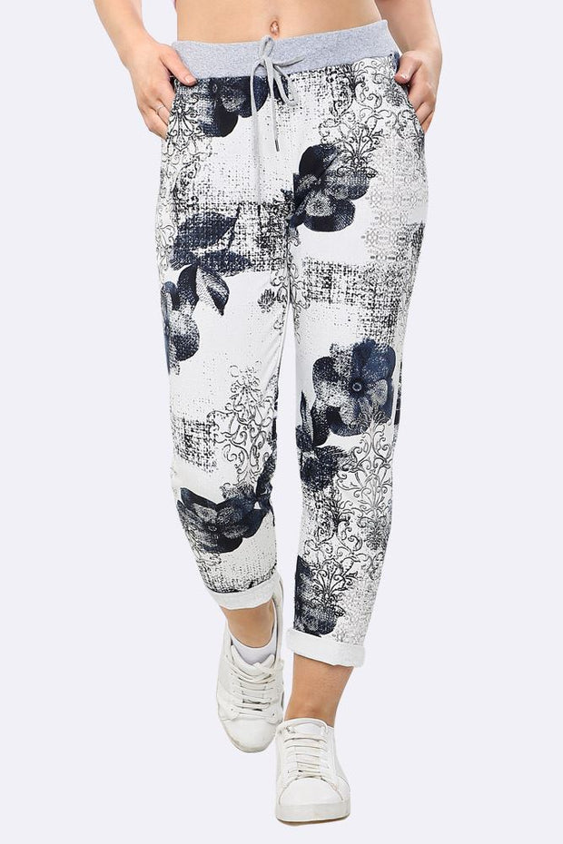 Judith Italian Forget-me-not Flower Print Foldover Hem Drawstring Trouser - Love My Fashions - Womens Fashions UK