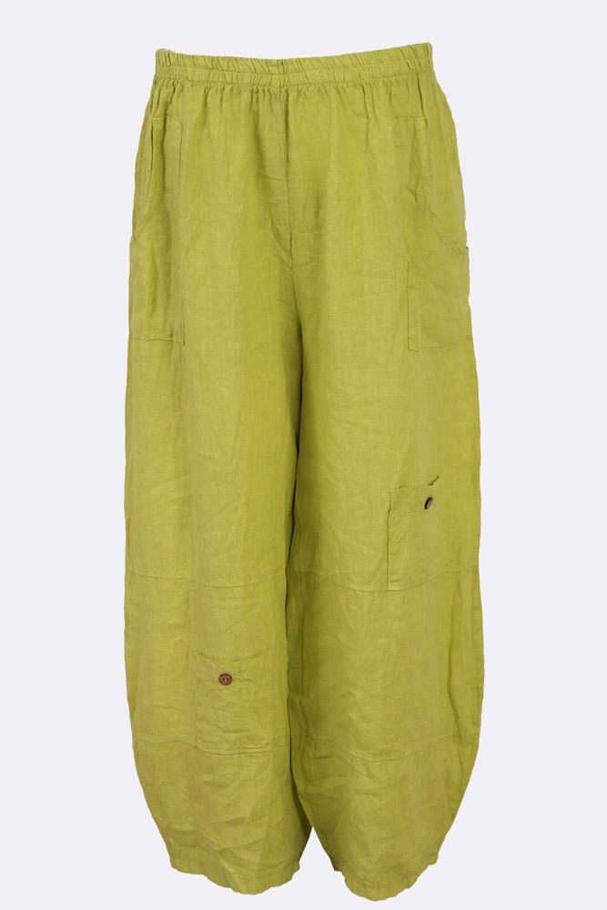 Kristen Linen Paneled Button Pocket Trousers - Love My Fashions - Womens Fashions UK