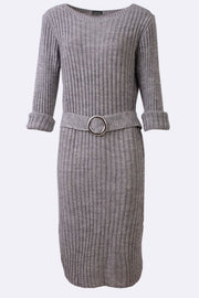 Eshal Striped Knit Long Dress With Belt