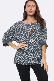 Italian Giraffe Print Necklace Top