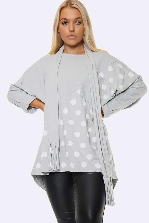Italian Polka Dot Scarf & Panel Insert Top
