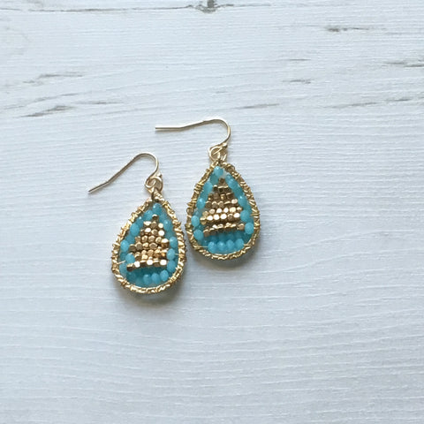 Faceted Drop Earrings Turquoise - Ilda London jewelry and accessories