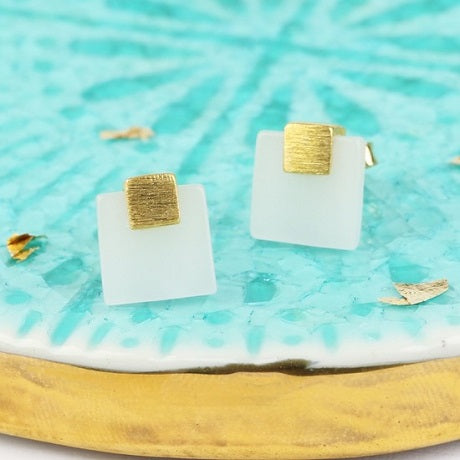Jade and Gold Stud Earrings - Ilda London jewelry and accessories
