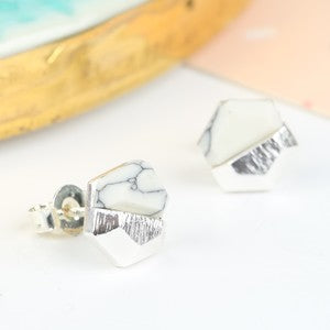 White Howlite and Silver Hexagonal Earrings - Ilda London jewelry and accessories