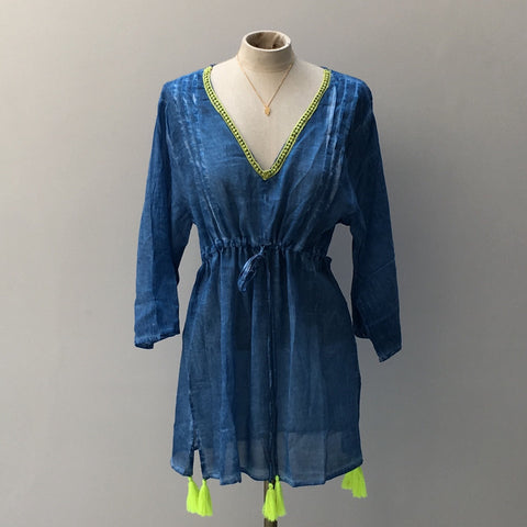 Kaftan in Indigo Cotton - Ilda London jewelry and accessories