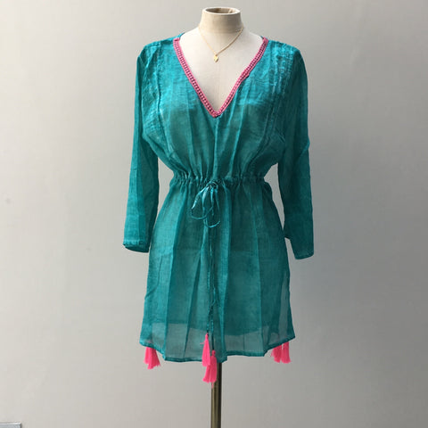 Kaftan in Sea Green Cotton - Ilda London jewelry and accessories