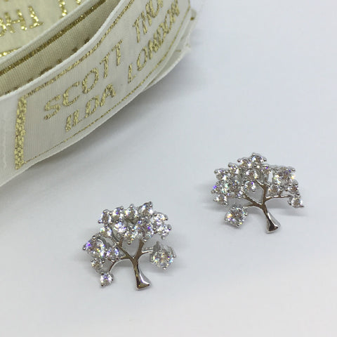 Tree Of Life Stud Earrings Platinum - Ilda London jewelry and accessories