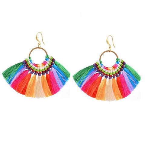 Rainbow Silk Tassel Earrings - Ilda London jewelry and accessories
