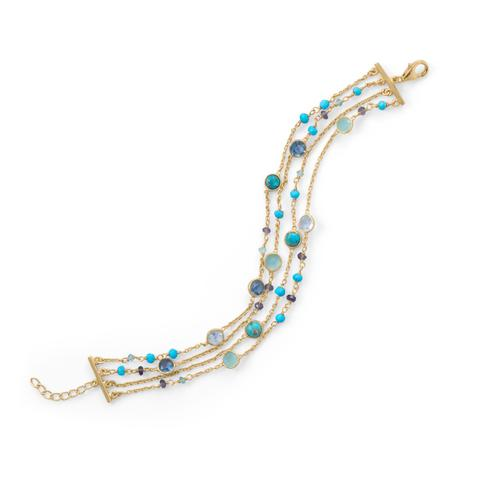 14K Gold Plated Multi Stone Bracelet .925 Sterling Silver