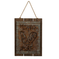 Rise & Shine Acid Washed Vintage Rooster Sign