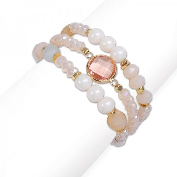 Bracelet - Pink Crystals & Pearls -Free Shipping