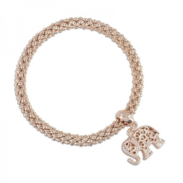 Rose Gold Woven Chain Bracelet With Elephant Dangle
