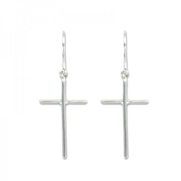Earrings - Silver Cross Dangle - Free Shipping