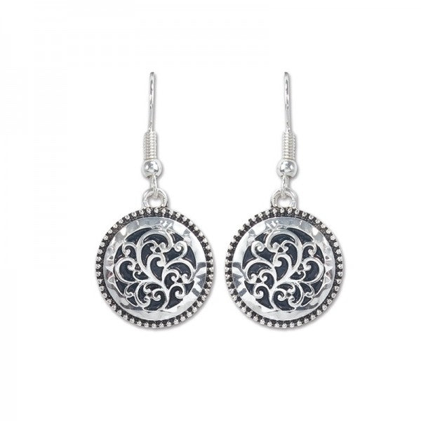 Earrings - Silver Filigree Round Dangle - Free Shipping