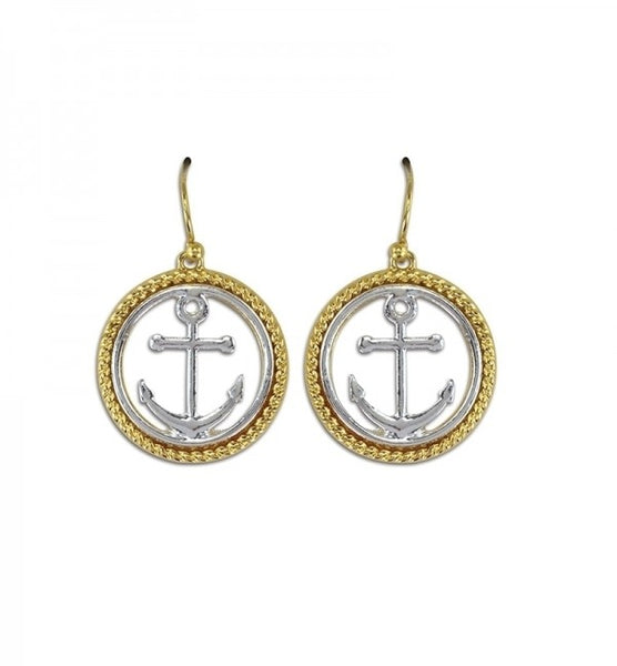 Earrings - Two Tone Anchor - Free Shipping