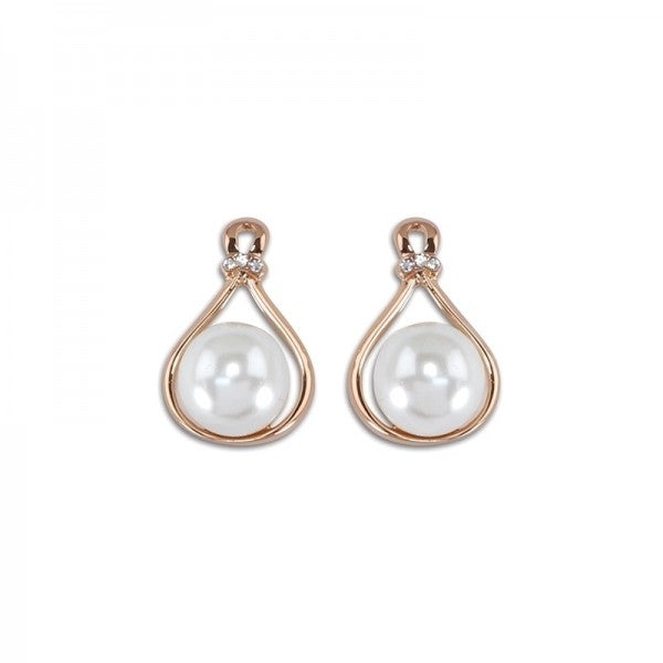 Earrings - Rose Gold & Pearl - Free Shipping