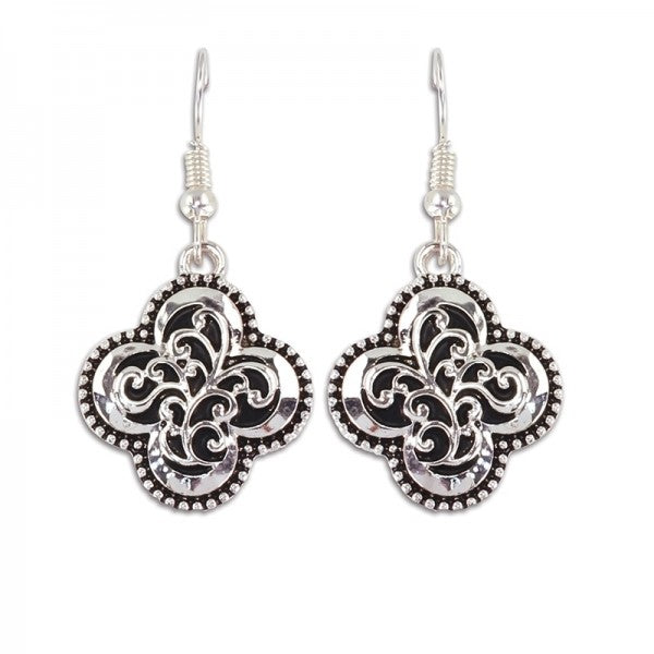Earrings - Clover Style Silver Swirl Earrings