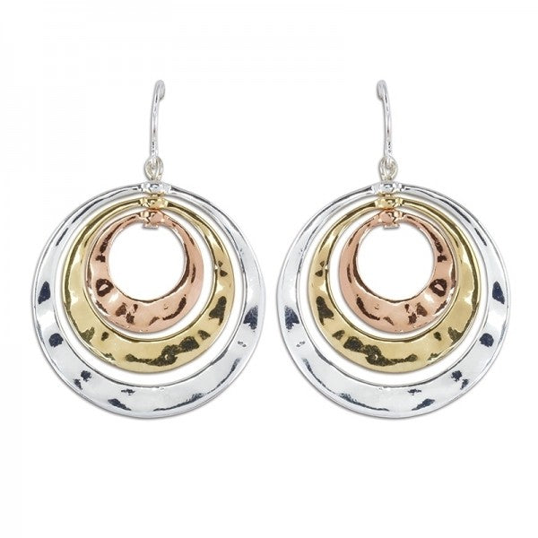 Tri Tone Circle Earrings