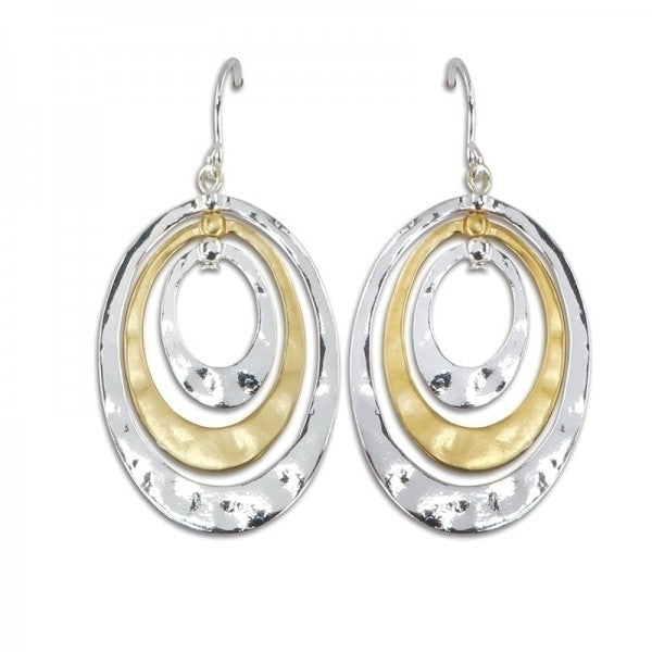 Earrings - Two Tone Oval Earrings