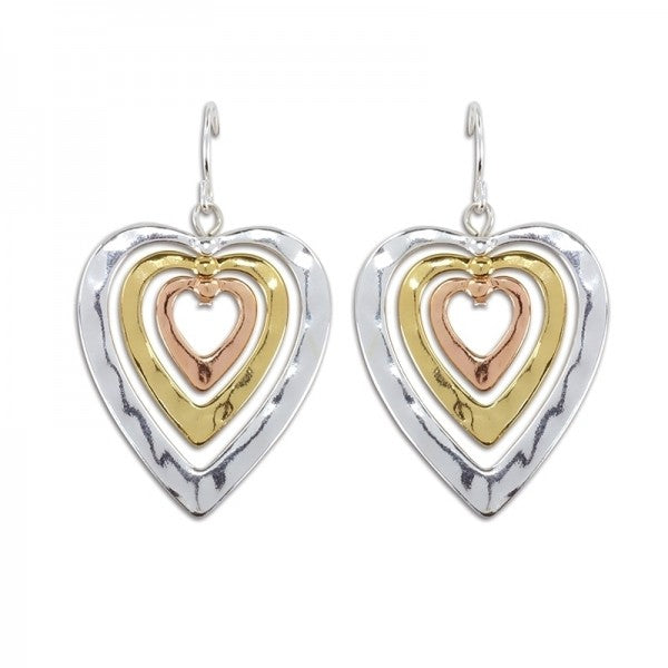 Tri Tone Heart Dangle Earrings - FREE SHIPPING