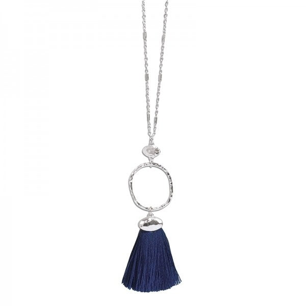 Silver Necklace with Navy Tassel
