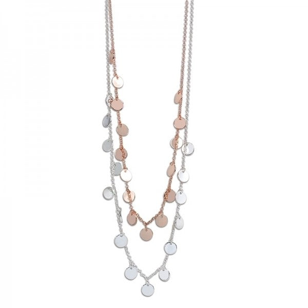 Tiny Rose Gold & Silver Discs Necklace - FREE SHIPPING