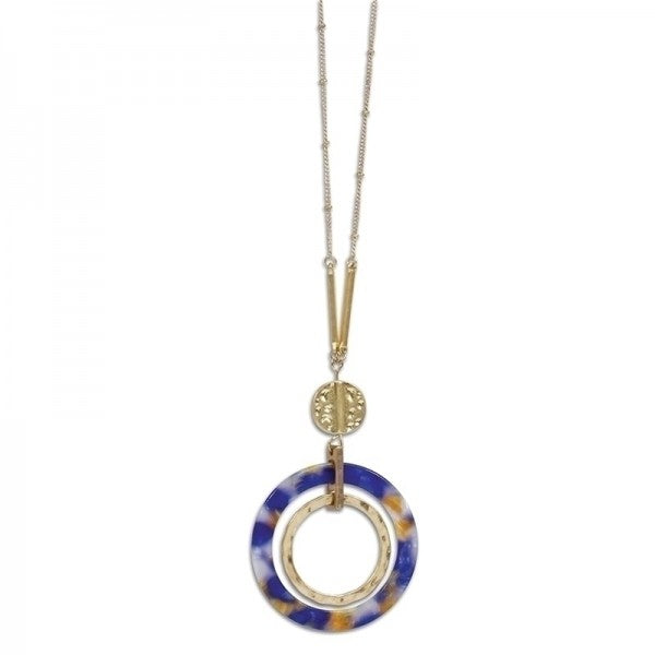 Multi Colored Resin & Gold Circle Necklace - FREE SHIPPING