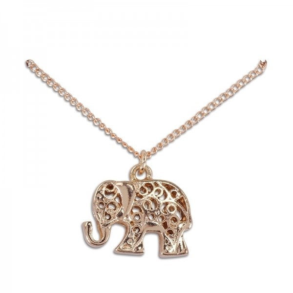 Rose Gold Filigree Elephant Necklace - FREE SHIPPING