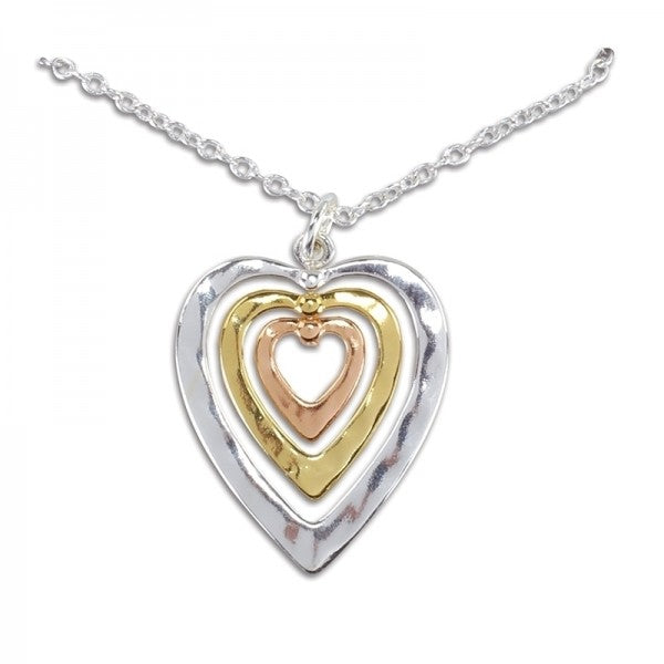 Tri Tone Heart Necklace