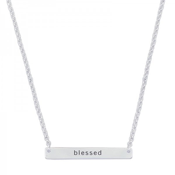 "Silver ""Blessed"" Bar Necklace - 16"" - FREE SHIPPING"