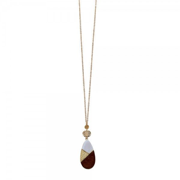 Wood & Enamel Teardrop Necklace