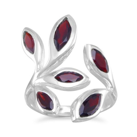 Garnet Leaf Style Ring - Sterling Silver