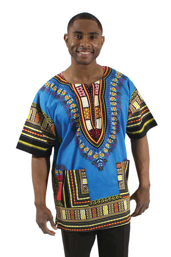 Blue Unisex Dashiki Shirt - Motherlands Finest - 1