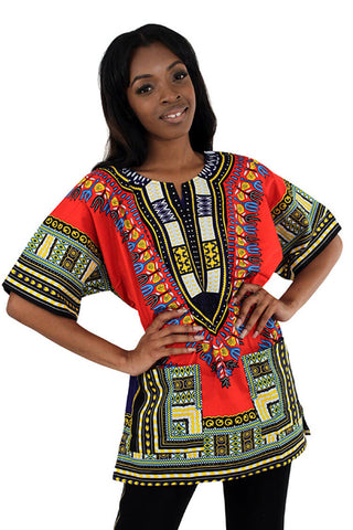 Red Unisex Dashiki Shirt - Motherlands Finest - 1