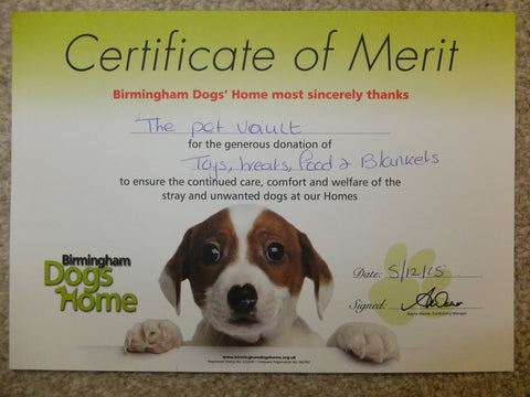 Birmingham Dogs home certificate for donations from ThePetVault 2015