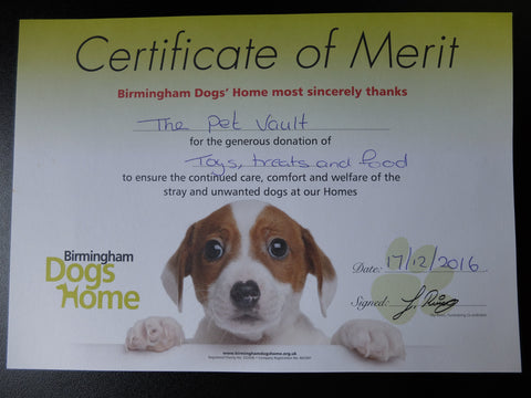 Birmingham Dogs Home certificate for donations from The Pet Vault 2016