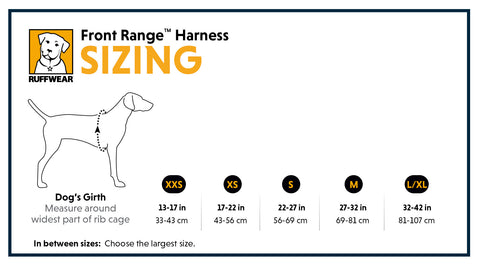 Ruffwear Front Range Harness size guide - the pet vault