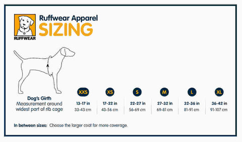 Ruffwear Climate Changer Fleece Dog Coat Size Guide- The Pet Vault