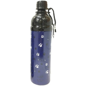 Long Paws Dog Travel Water Bottle 750ml in White Paws Design - The Pet Vault