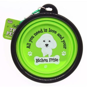 Bichon Frise Collapsible Travel Dog Bowl Gift - The Pet Vault