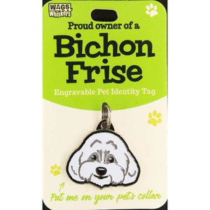 Bichon Frise Dog ID Tag Charm Gift for Bichon Frise Lovers by Wags and Whiskers - The Pet Vault