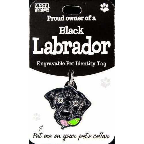 Black Labrador Dog ID Tag Charm Gift for Black Labrador Lovers by Wags and Whiskers - The Pet Vault