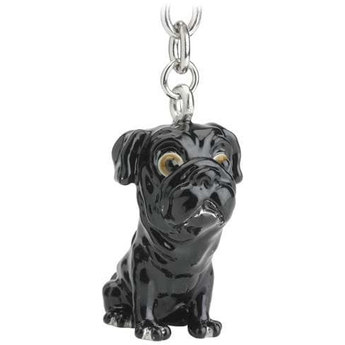 Black Pug Gift Figurine Keyring - The Pet Vault