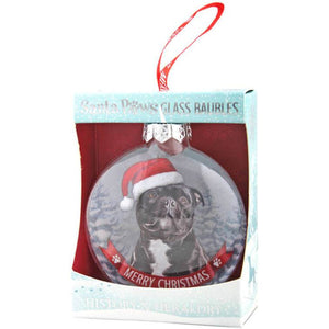 Black Staffy Christmas Bauble Gift